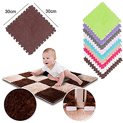 Pausseo Kids Carpet Foam Puzzle Mat EVA Long Fluff Baby Eco Floor Door Mat Hall Rugs Kitchen Woven Mat Soft Bath Washable Pad,Indoor Home Decoration,Modern Collection Custom Space - 30x30CM