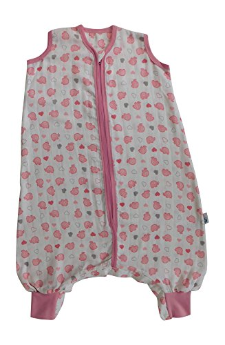 Slumbersac Summer Baby Sleeping Bag 0.5 Tog - Bamboo Muslin Pink Elephant - 6-18 months/90cm
