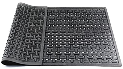 Hefty Mat Commercial rubber Small hole matting, Black, 57×33.5×0.31 inch