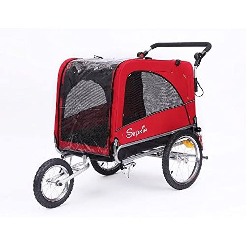 Image of Pet Supplies Sepnine 3 in 1 Luxury Large Sized Bike Trailer Bicycle Pet Trailer/Jogger/Dog Cage with Suspension 10308