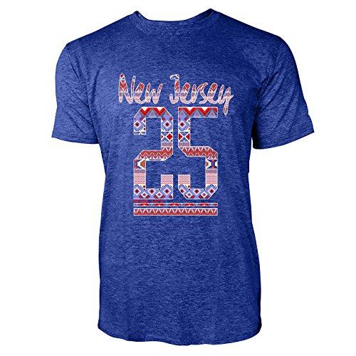 SINUS ART® New Jersey 25 mit Aztekenmuster Herren T-Shirts in Vintage Blau Cooles Fun Shirt mit tollen Aufdruck