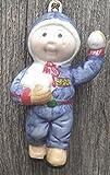 1984 Cabbage Patch Kids Porcelain Christmas Ornament - Boy Throwing Snowballs