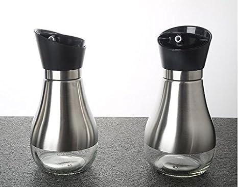 HCJTLP FJXLZ® Acero Inoxidable El Aceite Puede Spice Jar Botella del vinagre de la Salsa Vidrio Transparente Polvo a Prueba de Fugas Pequeño y Ligero ...