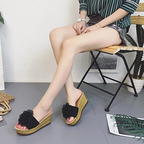 IGEMY Sommer Floral Plattform wasserdicht Frauen Sandalen Keil Sandalen Hausschuhe Schuhe Schwarz