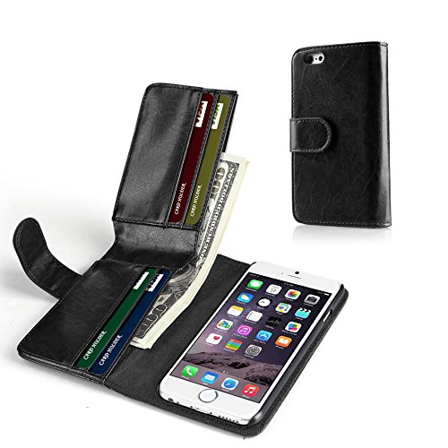 TNP iPhone 6s Wallet Case - Synthetic Leather Wallet Case Flip Cover with Credit ID Card Slots and Money Pocket for Apple iPhone 6S and iPhone 6 4.7