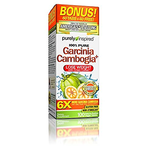 Purely Inspired 100% Pure Garcinia Cambogia Extract with HCA, Extra Strength,1600mg Garcinia Cambogia, Weight Loss, 100 count Veggie Tablets