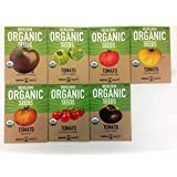 Organic Heirloom Tomato Garden Seeds - 7 Non-GMO Varieties: Cherokee Purple, Golden Queen, Green Zebra, Pineapple, Brandywine Pink, Black Krim, Chadwick Cherry