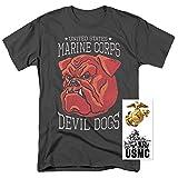 devil dog shirts - Popfunk U.S. Marine Corps Military Devil Dogs T Shirt & Exclusive Stickers (X-Large)