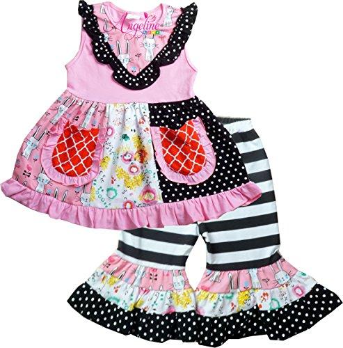 - Angeline Toddler Little Girls Summer Kitty Floral Pernickety Capri Playwear Set Capri Set 3T/M