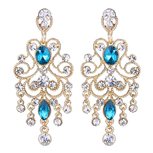 Womens blue chandelier earrings amazon brilove womens vintaged style bridal crystal drop hollow chandelier filigree dangle earrings gold tone blue topaz color mozeypictures Image collections