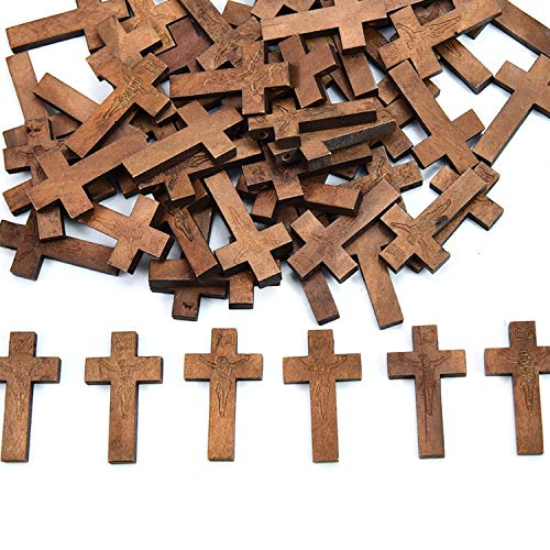 HUELE 100 PCS Wooden Cross Set for Crafts or Church Carnival Fundraising Religious Jewelry Gifts
