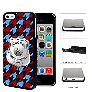 Proud Police Officer's Wife Houndstooth Hard Plastic Snap On Cell Phone Case Apple iPhone 5c by icecream design