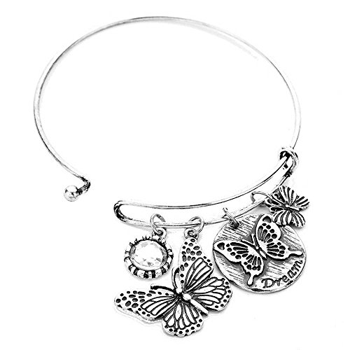 Rosemarie Collections Women's Dream Butterfly Charm Bangle Bracelet