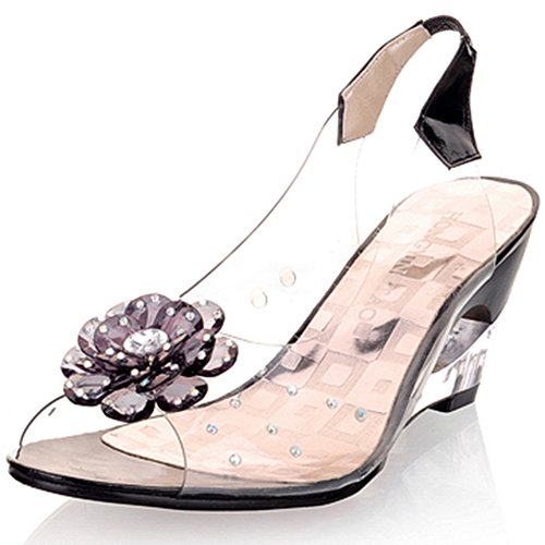 Shoes HIgh Summer SaraIris Decoration on Flower Women's Sweet Sandals Black Slip Toe Wedge Heel Peep fYqStqw0