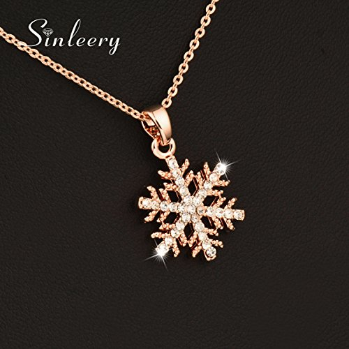 KassarinShop Fashion Zircon Hollow Snowflake Pendant Necklace For Women 18K Rose Gold Xl518 -