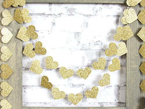 My lifestyle 2-Pack,Gold Glitter Heart Paper Garland,Heart Garland,Christmas Garland, Gold Garland,Beautiful Garland, Paper Garland, Rustic Wedding, Christmas Decor, Party Garland (Gold,Glitter)