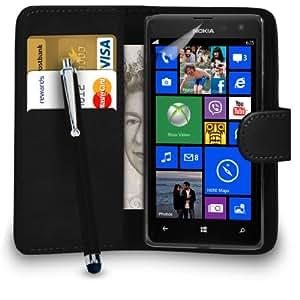 123 Online Nokia Lumia 625 Cuero Negro Monedero del caso del tirón de la cubierta Pouch + Grandes Touch Stylus Pen + 2 Protector y Pulido x Screen Cloth