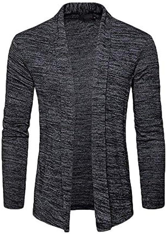 Męska kurtka z dzianiny wiosna jesień elegancka odzież Knit jednokolorowa kardigan długi rękaw płaszcz dzianina kurtka bluza: Odzież