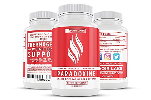 Voir Labs Paradoxine - Grains of Paradise Seed Extract - Natural Metabolic Enhancer - Stimulant Free Thermogenic Fat Burner Weight Loss Supplement - 60 Veggie Pills