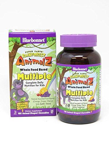 Super Earth Rainforest Animalz Whole Food Based Multiple - Orange, Grape, Cherry 180 ANIMAL-SHAPED CHEWABLES