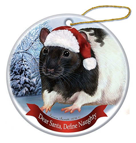 Holiday Pet Gifts Black Hooded Rat Santa Hat Porcelain Christmas Tree Ornament (Hooded Rat)