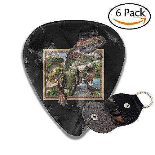 3D Dinosaur 6 Pack Colorful Celluloid Guitar Pick Holder Case