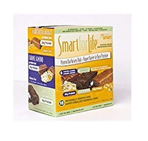 Smart for Life Protein Bar Variety Pack, Caramel Almond, Chocolate & Peanut Butter Chocolate, 18 Ct.