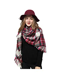 Blanket Scarf Women Plaid Scarf Pashmina Gray Red Winter Scarf Wrap Shawl for Women (1 D Rose Pink Scarf)