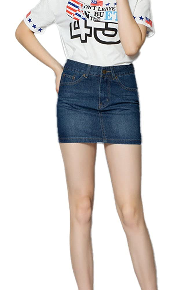 iRachel 2015 Womens Fahion Short Denim Skirts Bodycon Slim Mini Jean Skirts