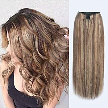 Image of ABH AmazingBeauty Hair Halo Hair Extensions - Invisible Miracle Wire Remy Human Hair, 6-12 Chestnut Brown with Dark Dirty Blonde Highlights, 20 Inch Health and Household