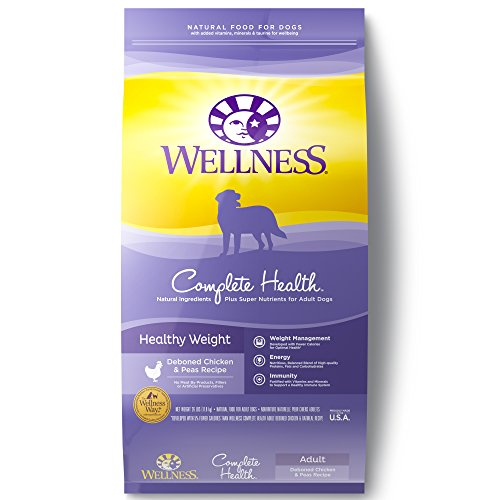 Wellness Complete Health Natural Dry Healthy Weight Dog Food, Chicken & Peas, 26-Pound Bag (Best Healthy Weight Dog Food)