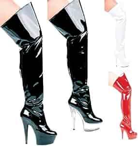 ELLIE 609-CASINO Womens 6 Heel Pointed Stilletto Thigh High Boots Black 6 Size