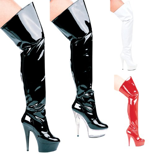 ELLIE 609-CASINO Womens 6 Heel Pointed Stilletto Thigh High Boots, Black on Clear, 8 Size