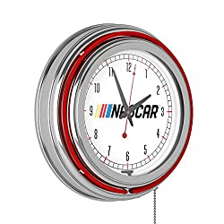 NASCAR Chrome Double Rung Neon Clock