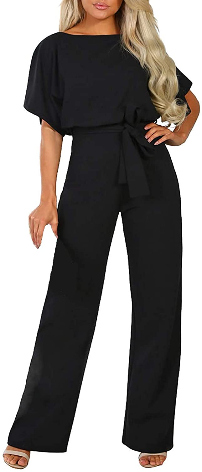 Happy Sailed Women Casual Loose Short Sleeve Belted Wide Leg Pant Romper Jumpsuits S-XL