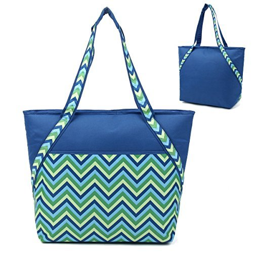 super-sachi-hot-cold-50-can-insulated-cooler-picnic-lunch-tote-bag-blue-chevron