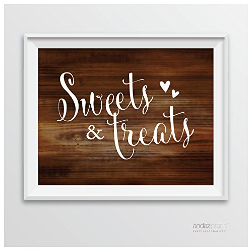 Andaz Press Wedding Party Signs, Rustic Wood Print, 8.5-inch x 11-inch, Sweets & Treats Dessert Table Sign, 1-Pack, Unframed