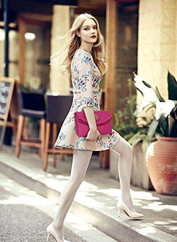 ANNA GRACE - Bolso al hombro de piel sintética para mujer Design 4 - Fuchsia
