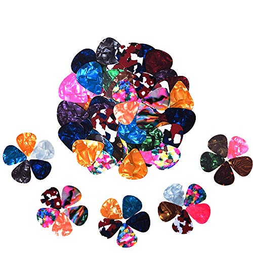 60 Pack Abstract Art Colorful Guitar Picks, Unique Guitar Gift For Bass, Electric & Acoustic Guitars Includes 0.46mm, 0.71mm, 0.96mm]()