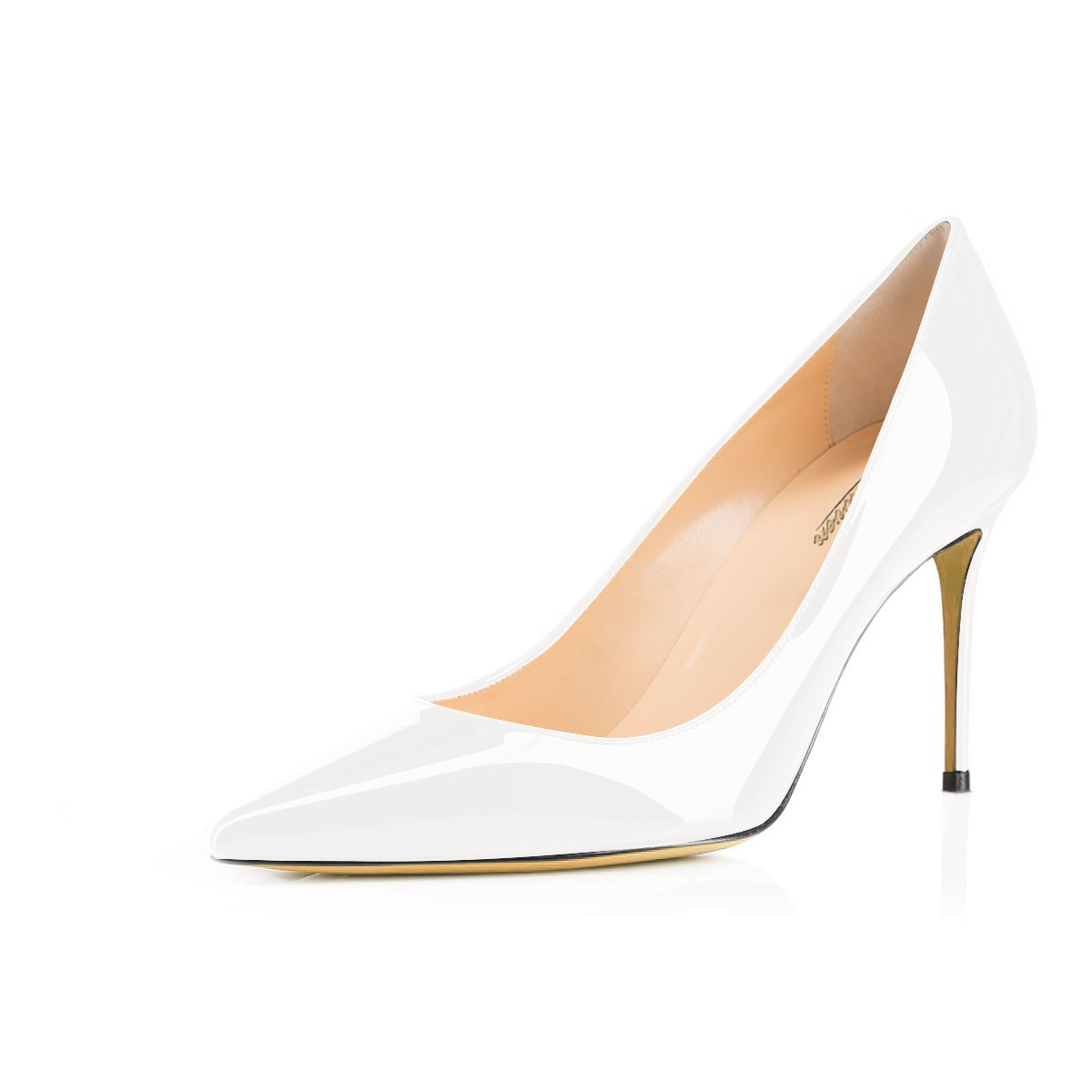 b89e50a70c660 MODEMOVEN Women's White Pointed Toe Pumps Slip-on Office Business High  Heels Sexy Stiletto Shoes 7.5 M US