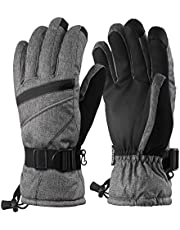 Andake Mens Ski Gloves, 3M Thinsulate Winter Snow Warm Insulated Gloves Windproof Waterproof Gloves for Skiing (M/L, Gray Pocket Touchscreen)