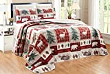 3-Piece Lodge/Cabin Oversize (115' X 95') Plaid Quilt Set Reversible Bedspread Coverlet King Size Bed Cover (Red, Green, Brown, Bear, Moose, Elk)