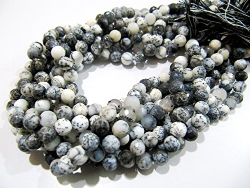 Beads Gemstone Rare - AAA Quality Natural Dendrite Opal Beads / Faceted Round Shape Opal Beads / Size 5-6 mm / Strand 10 inch long / Rare Gemstones