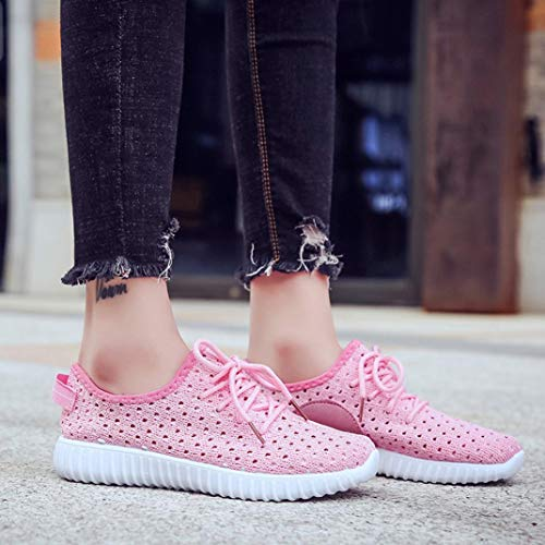 Outdoor Casual Women Shoes Lace Running Look Up Mesh Pink Comfortable Loafers Girls Soles Espadrilles Sports New xRppq1a