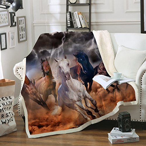"Sleepwish Galloping Horse Blanket Cowgirl Cowboy Western Fleece Blanket Plush Sherpa Throw Blanket for Couch Sofa (Throw 50"" x 60"")"
