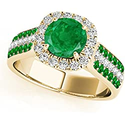 1.55 Ct. Ttw Beautiful Unique Design Diamond And Created Emerald Ring In 14k Yellow Gold
