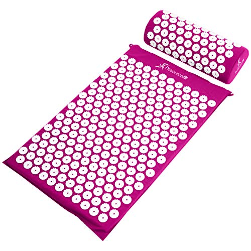 ProSource Acupressure Mat and Pillow Set for Back/Neck Pain Relief and Muscle Relaxation, Purple (Upper Back Pain Relief Exercises At Home)