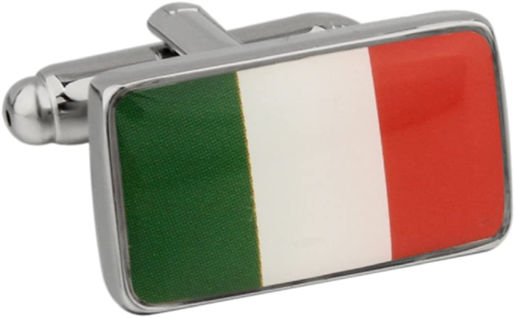 MRCUFF Ireland Irish Flag Pair Cufflinks in a Presentation Gift Box & Polishing Cloth
