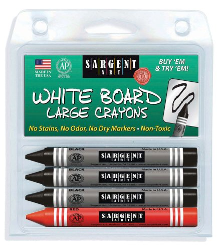 (Sargent Art 35-0523 4-Count Regular Wipe-Off White Board Crayons, Peggable)
