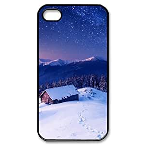 Sexyass Wooden House Under Sky with Stars Cases for IPhone 4/4s Cute Design, Iphone 4s Cases for Teen Girls for Boys with Black WANGJING JINDA